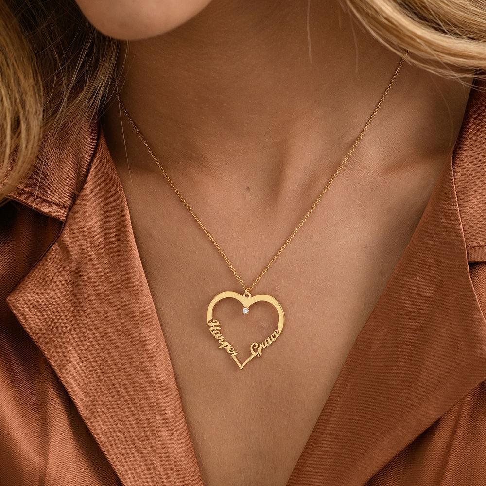 Hjärthalsband med personlig text i guld vermeil med diamant - 2