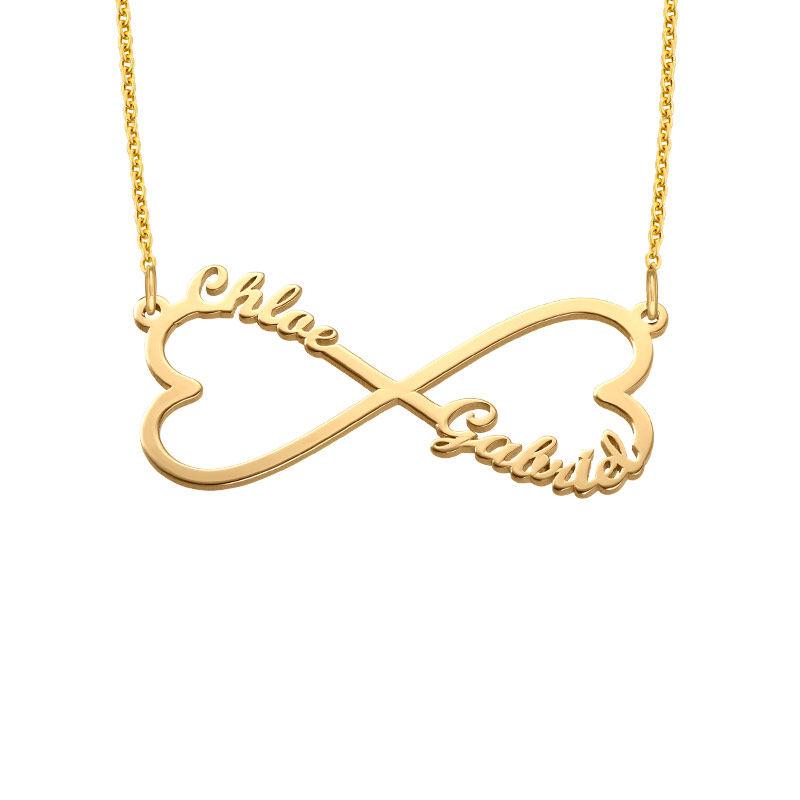 Infinity namnhalsband med hjärta i guldplätering