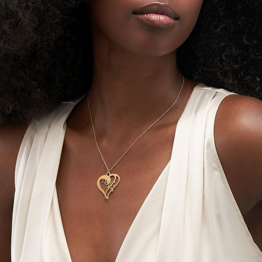 Två hjärtan förevigat i guldpläterat - 2