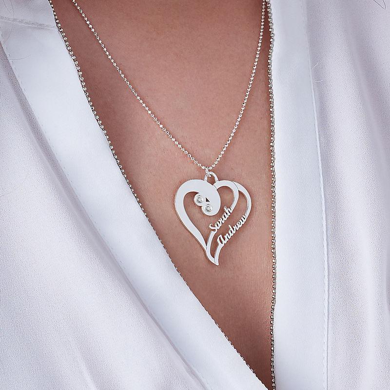 Två hjärtan förevigt halsband med diamant i silver - 2