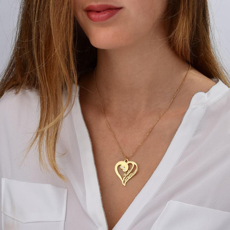 Två hjärtan förevigt halsband med diamant i guldpläterat - 1
