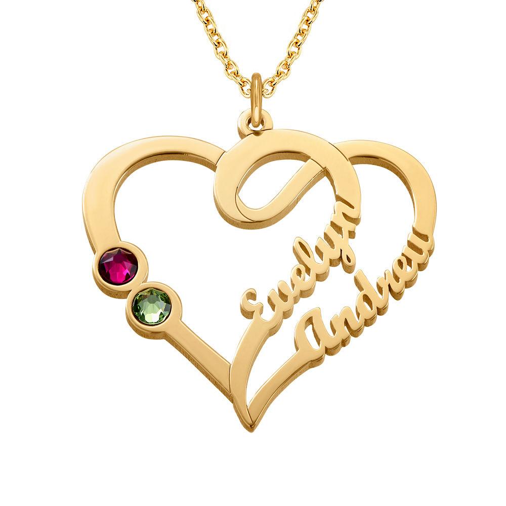 Hjärthalsband med månadsstenar i Guld Plätering - Min eviga kärlekskollektion