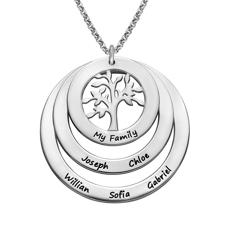 Livets träd familjesmycke med cirklar i silver