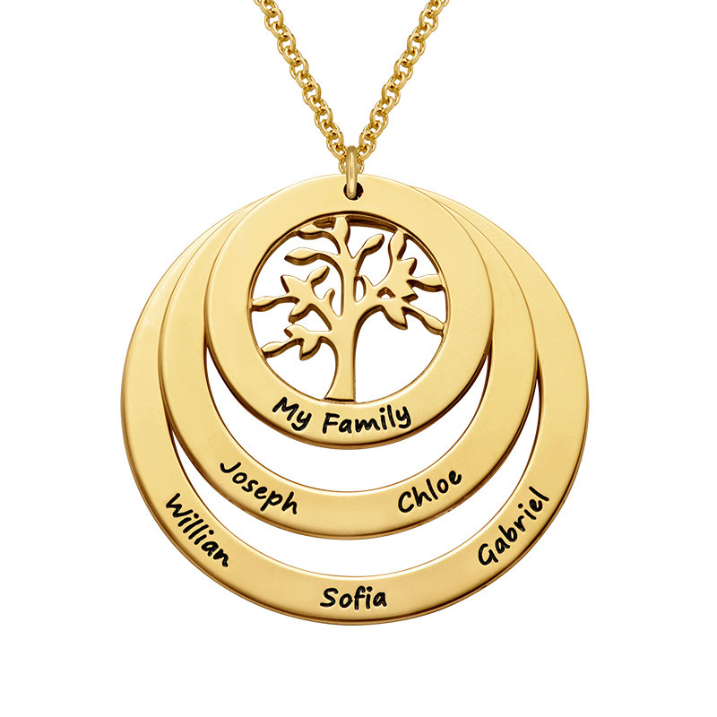 Livets träd familjesmycke med cirklar i 18 karat guldplätering