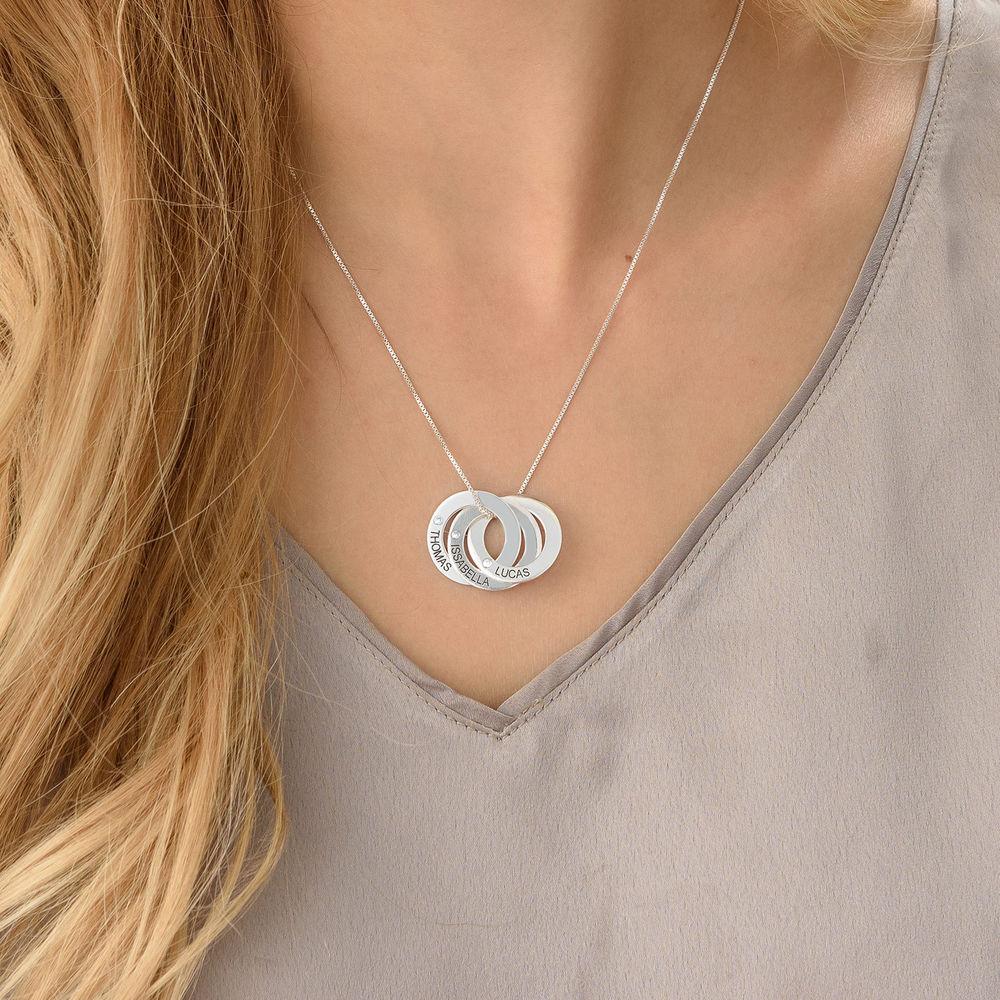 Ryskt ringhalsband med gravering och diamanter i sterling silver - 2