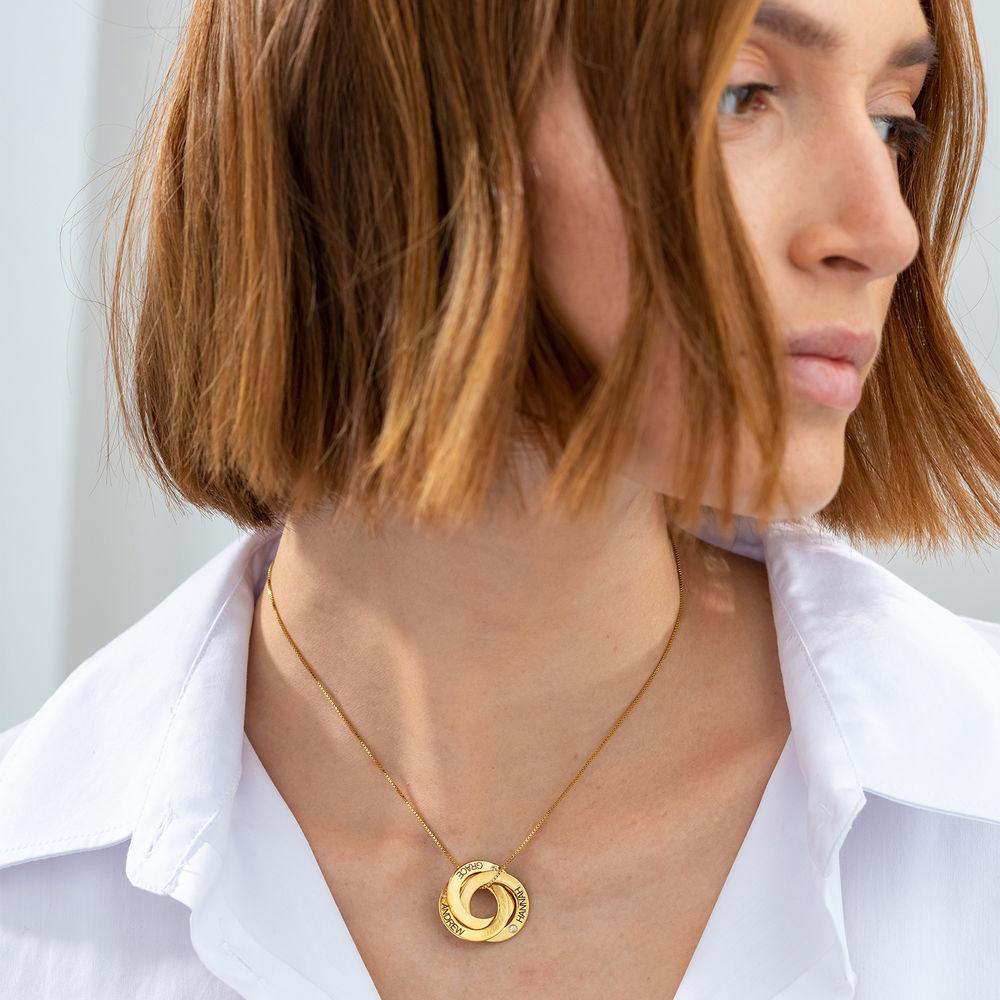 Ryskt ringhalsband med gravering och diamanteri guld vermeil - 1