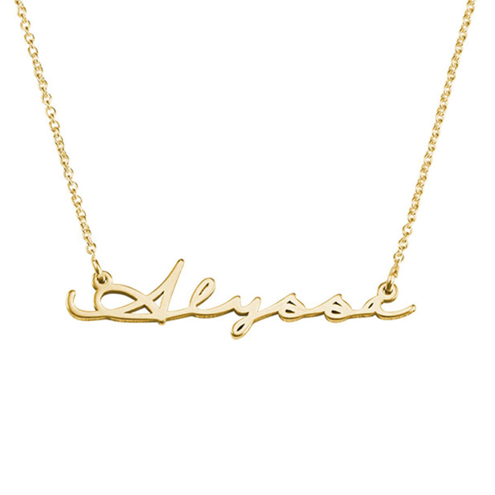 Personligt Handskrivet Namn Halsband - Guldplätering