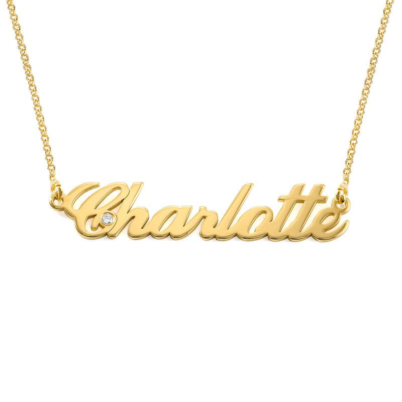 Klassiskt Litet Namnhalsband i Guld Vermeil med Diamant - 1