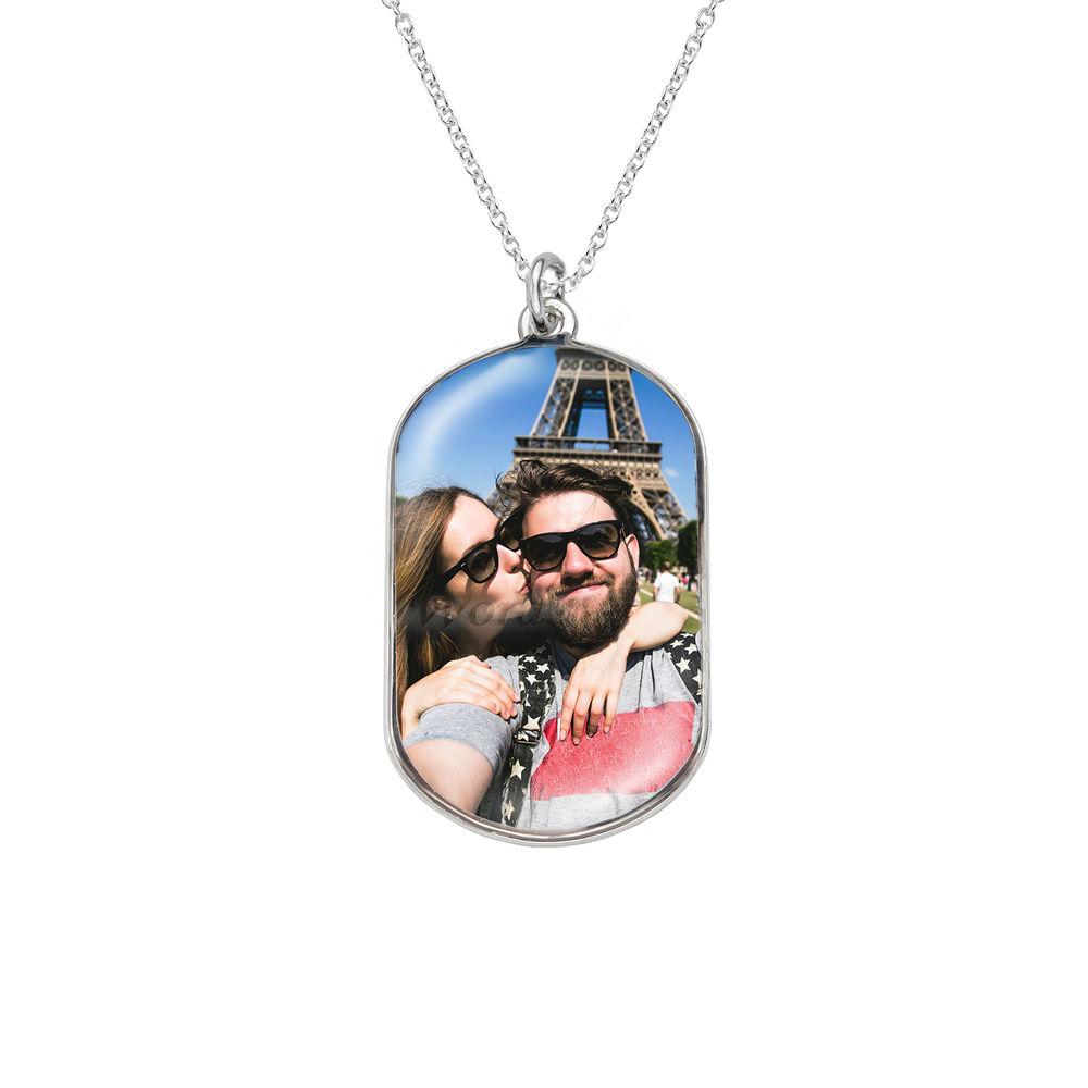 Halsband med foto och id-bricka i sterlingsilver