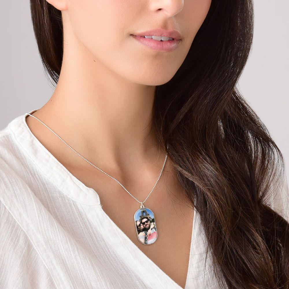 Halsband med foto och id-bricka i sterlingsilver - 3