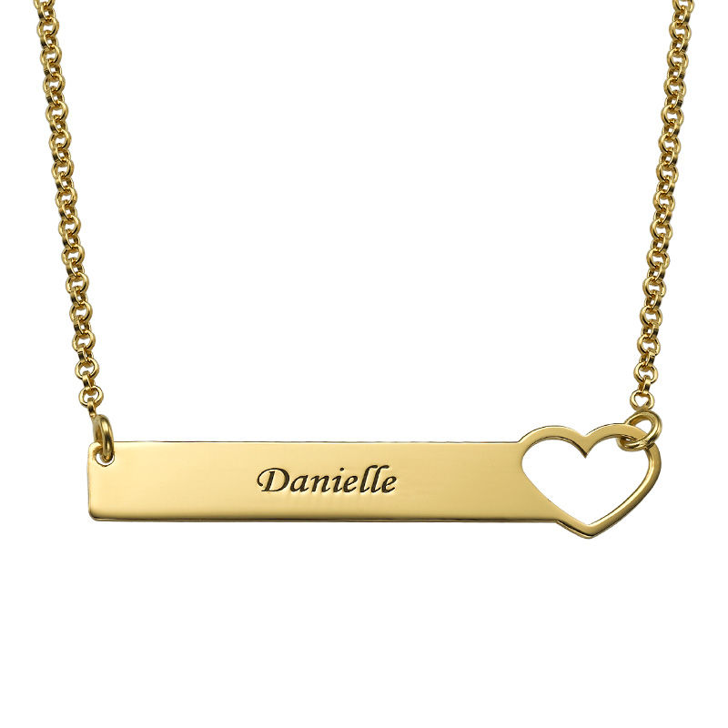 Brick halsband med hjärta  - guldpläterat