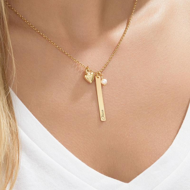 Halsband med namnbricka och hjärtberlock och pärla i guldplätering - 3