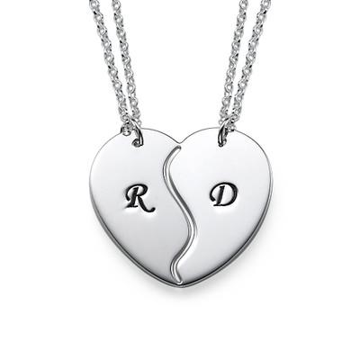 Brythjärta Halsband med initialer i Silver
