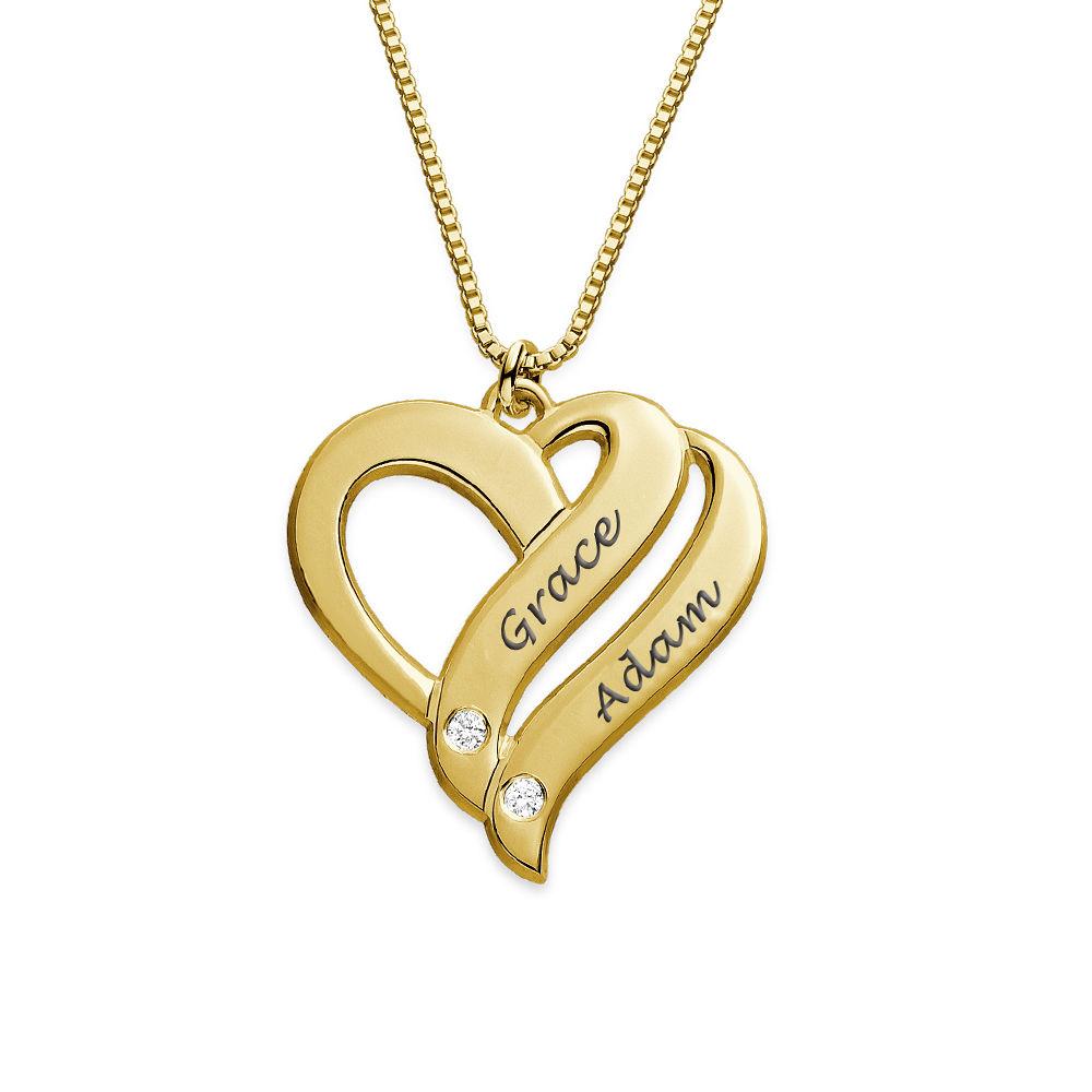 Två Hjärtan För Evigt Halsband med Diamanter i Guldplätering