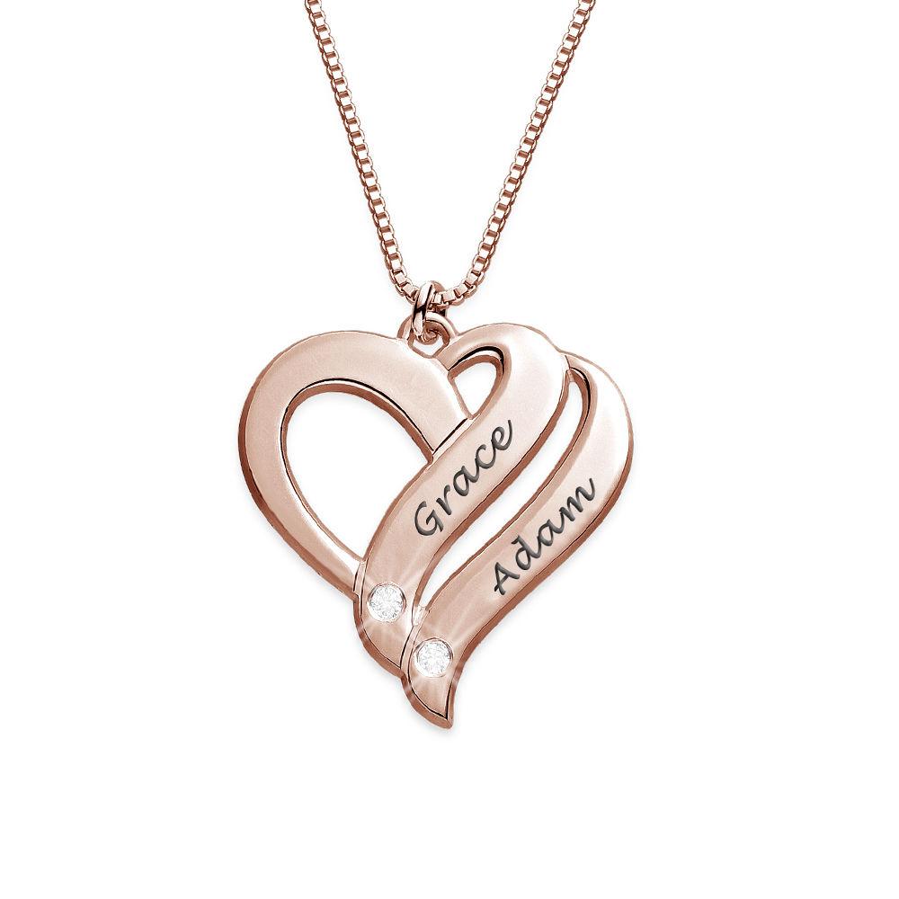 Två Hjärtan För Evigt Halsband med Diamanter i Roséguldplätering