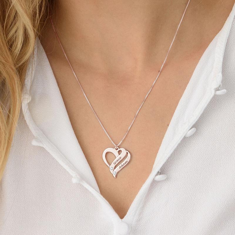 Två Hjärtan För Evigt Halsband med Diamanter i Roséguldplätering - 2