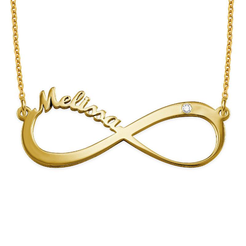Infinity halsband med namn och diamant i guldplätering - 1