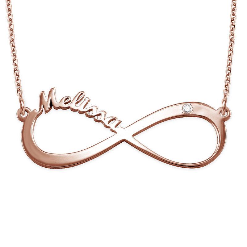 Infinity halsband med namn och diamant i roséguldplätering - 1