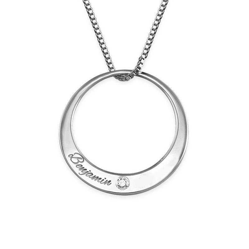 Diamanthalsband i sterlingsilver med cirkel - 1