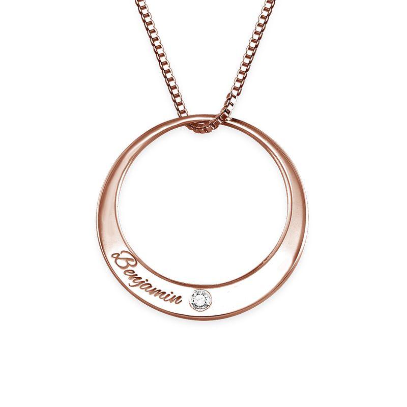 Diamanthalsband i roséguldplätering med cirkel - 1