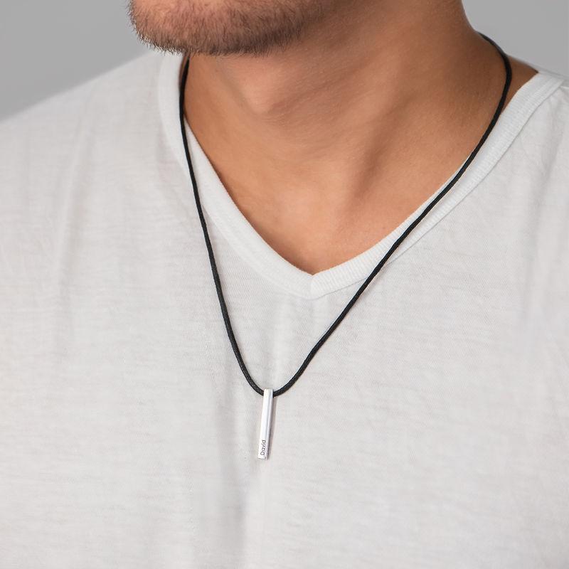 3D-graverat stav-namnhalsband i silver för Män - 2