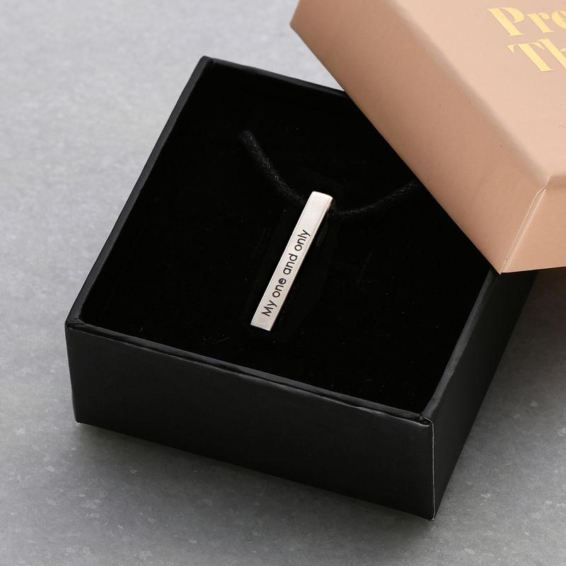 3D-graverat stav-namnhalsband i silver för Män - 5