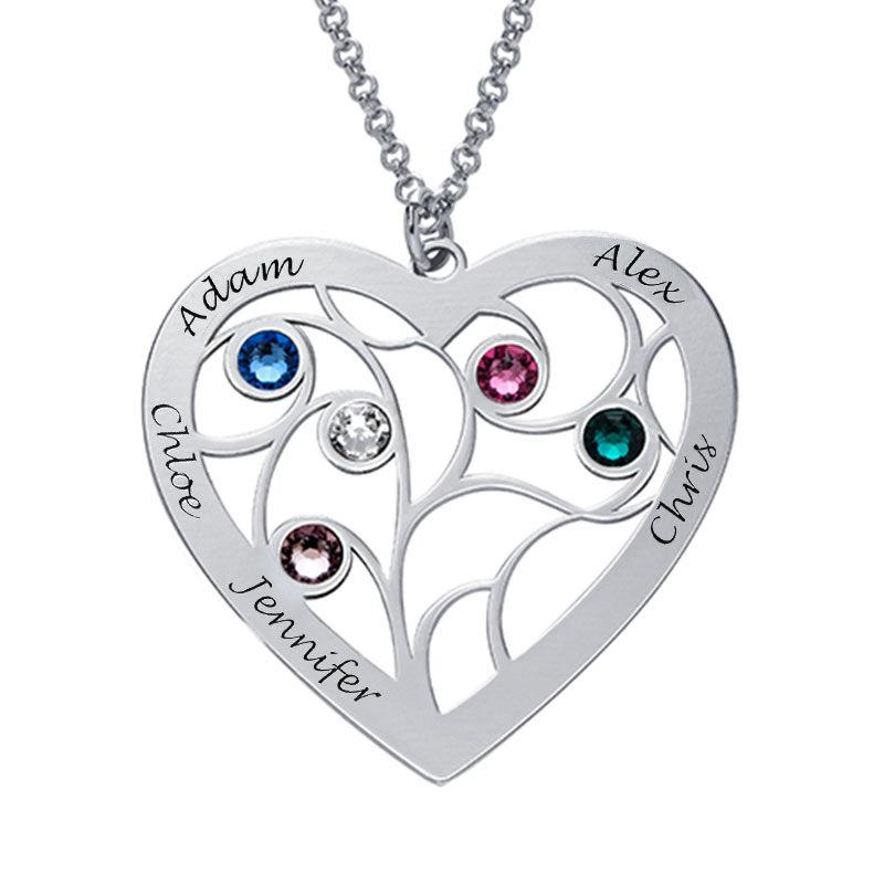 Livets träd-halsband i form av ett hjärta i sterlingssilver och med månadsstenar