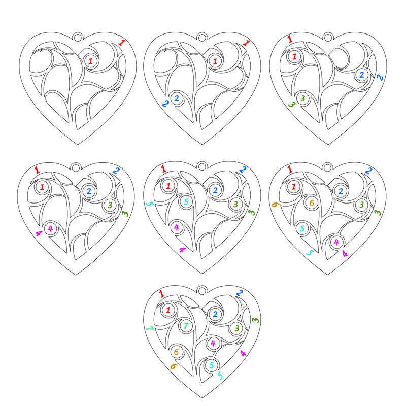 Livets träd-halsband i form av ett hjärta i sterlingssilver och med månadsstenar - 6