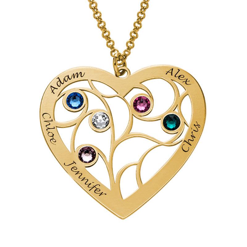 Livets träd-halsband i form av ett hjärta i guldplätering och med månadsstenar