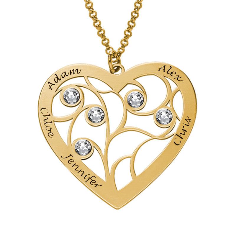 Livets träd-halsband i form av ett hjärta i guldplätering och med månadsstenar - 1