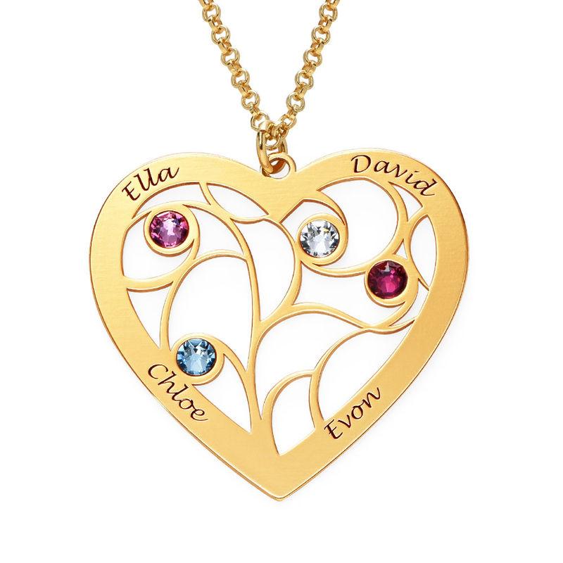 Livets träd-halsband i form av ett Hjärta med Månadsstenar i Guld Vermeil