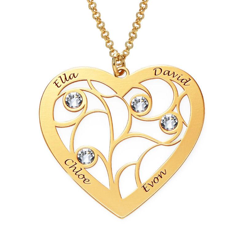 Livets träd-halsband i form av ett Hjärta med Månadsstenar i Guld Vermeil - 1
