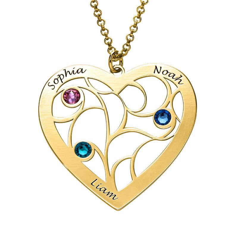 Livets träd-halsband i form av ett Hjärta med Månadsstenar i Guld Vermeil - 2