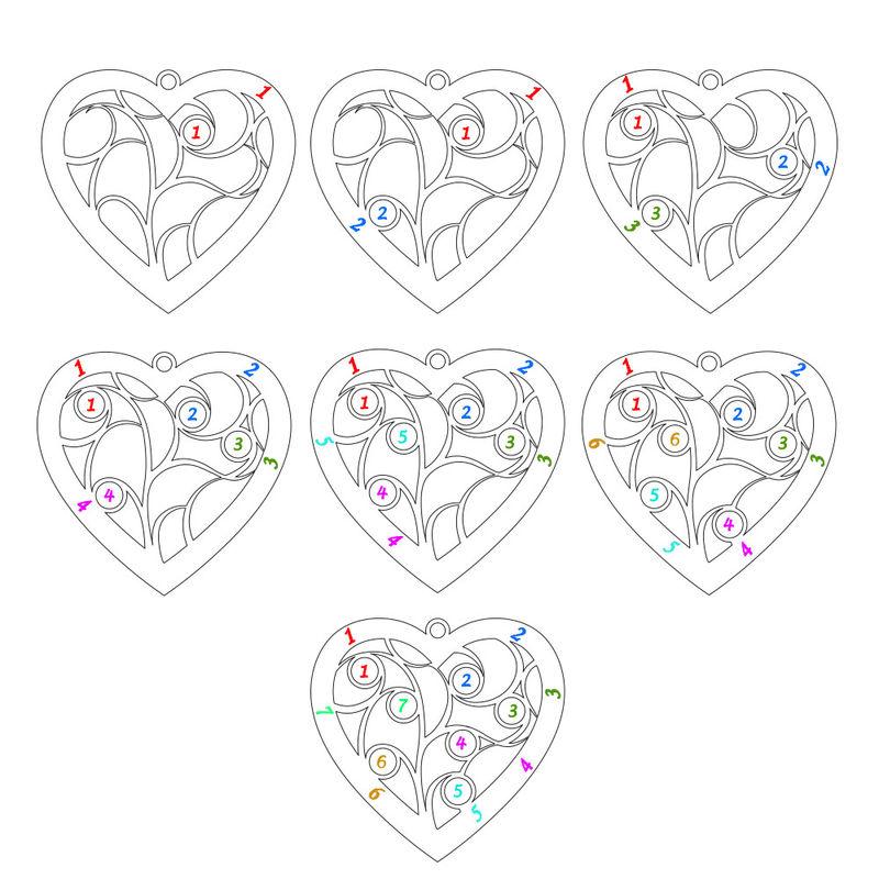 Livets träd-halsband i form av ett Hjärta med Månadsstenar i Guld Vermeil - 6
