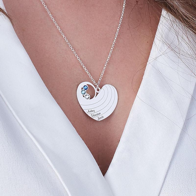 Mammahalsband med hjärta i sterlingssilver och med månadsstenar - 2