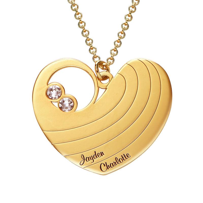 Mammahalsband med hjärta i guldplätering och med månadsstenar