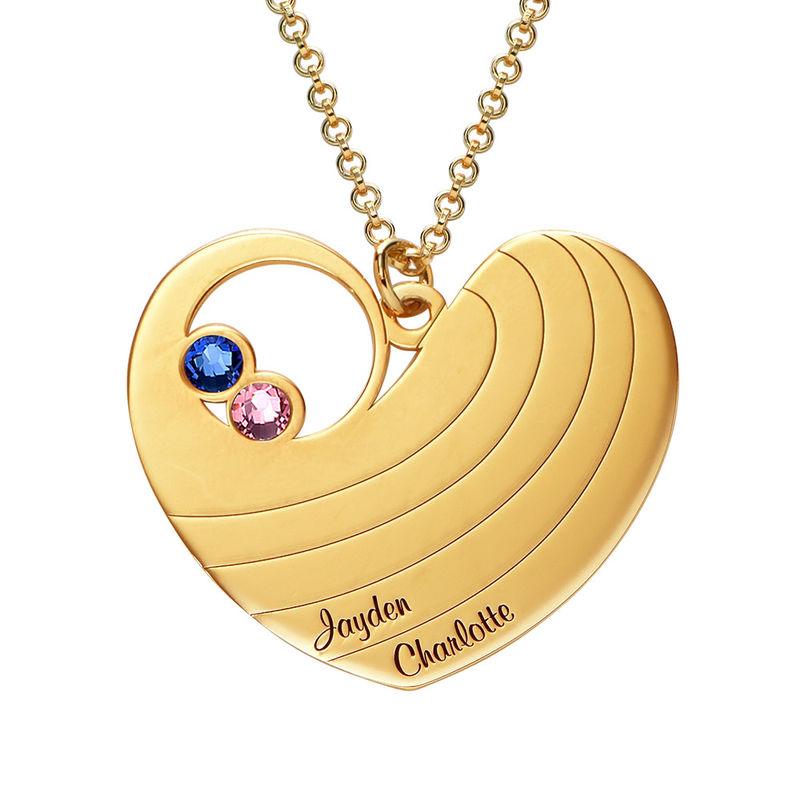 Mammahalsband med hjärta i guldplätering och med månadsstenar - 1