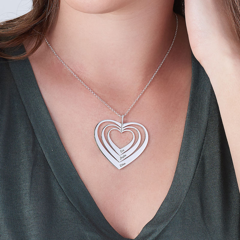 Familjehalsband med hjärta i sterlingsilver - 3