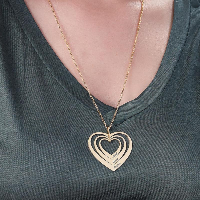 Familjehalsband med hjärta i guldplätering - 3