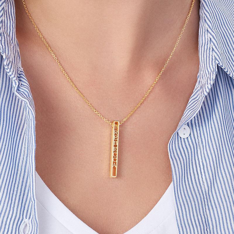 Personligt halsband med namnbricka i 3D i 18K guldplätering - 4