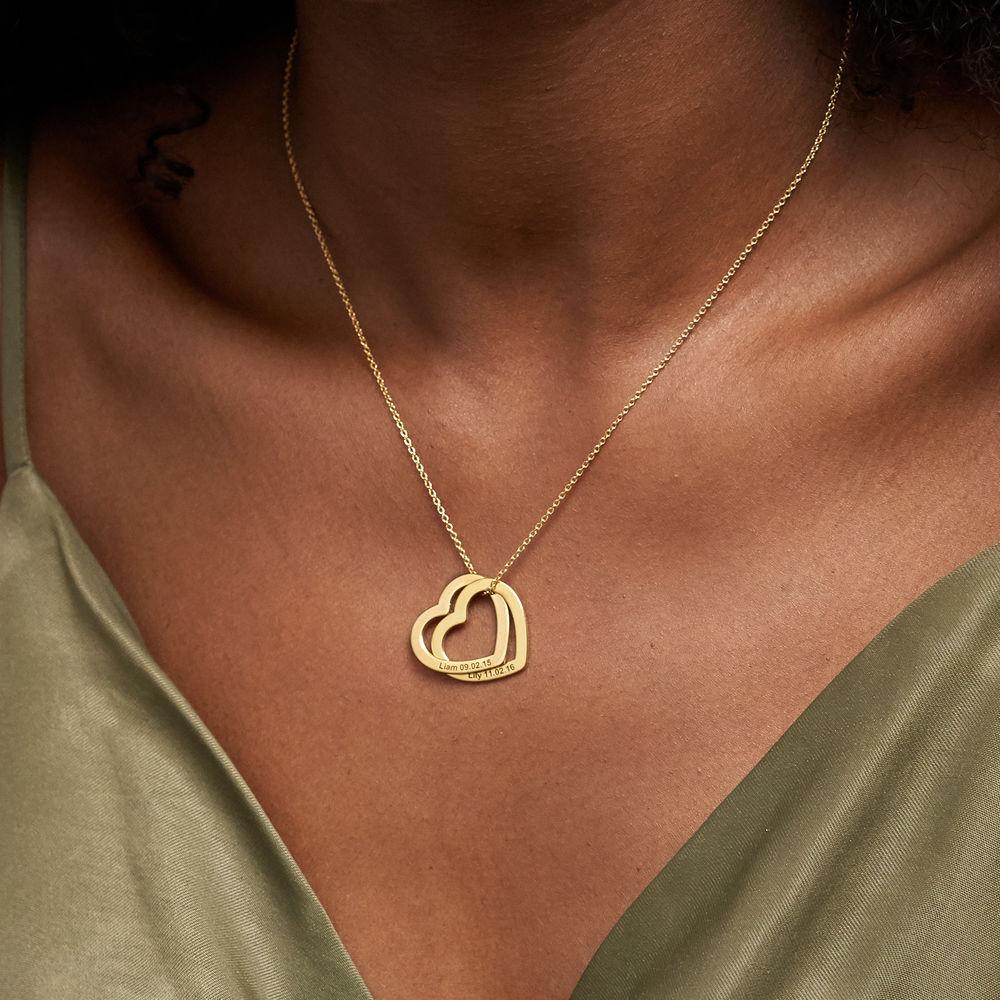 Halsband med sammanflätade hjärtan i 18K guldplätering - 3