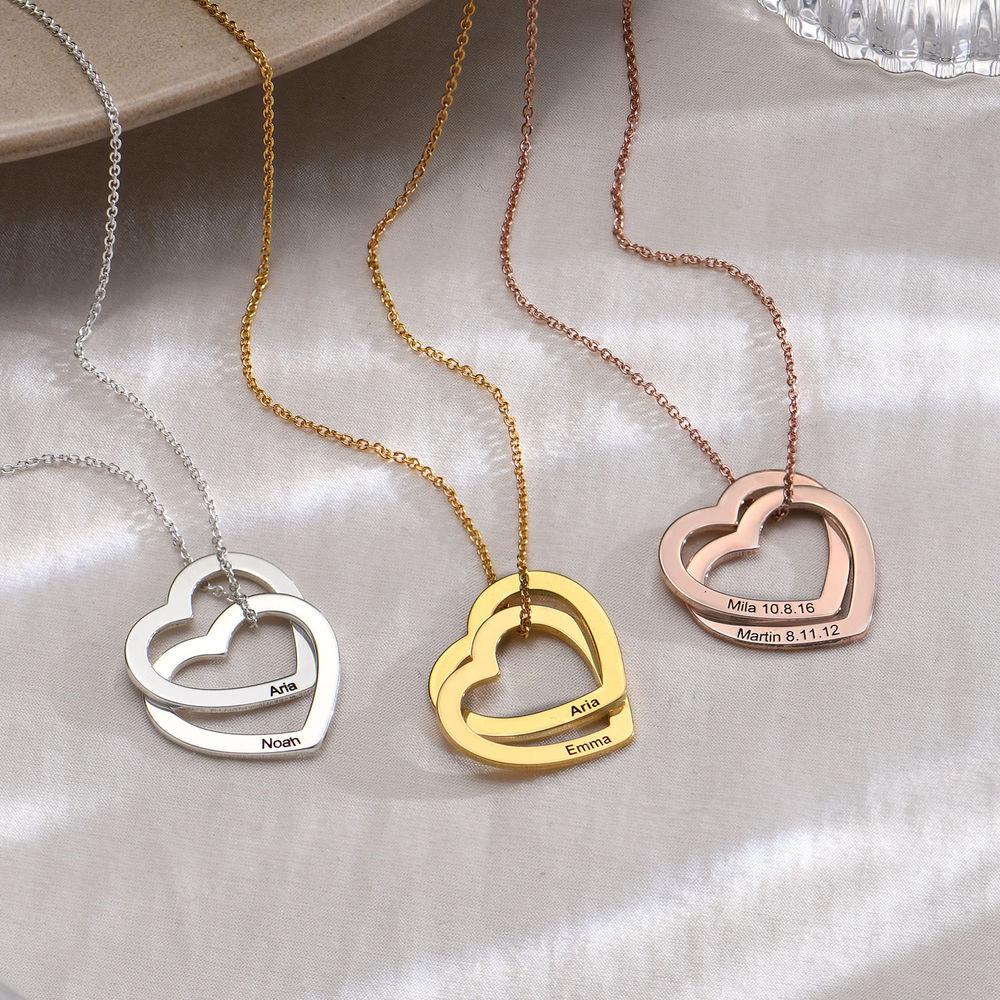 Halsband med sammanflätade hjärtan i 18K roséguldplätering - 1
