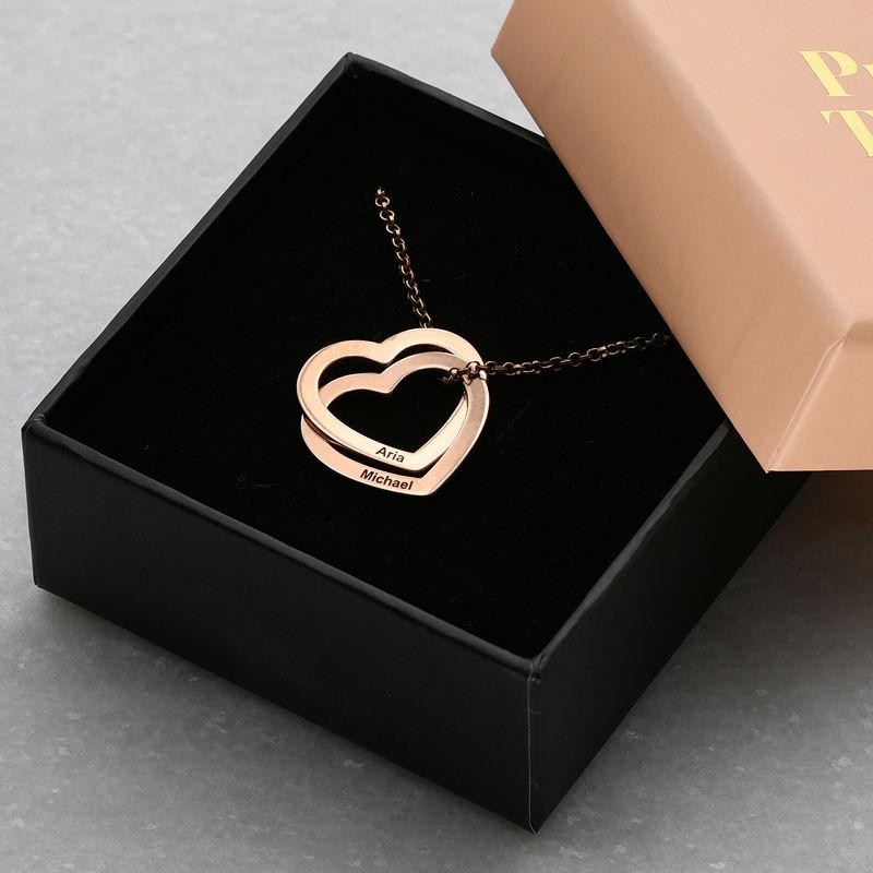 Halsband med sammanflätade hjärtan i 18K roséguldplätering - 5