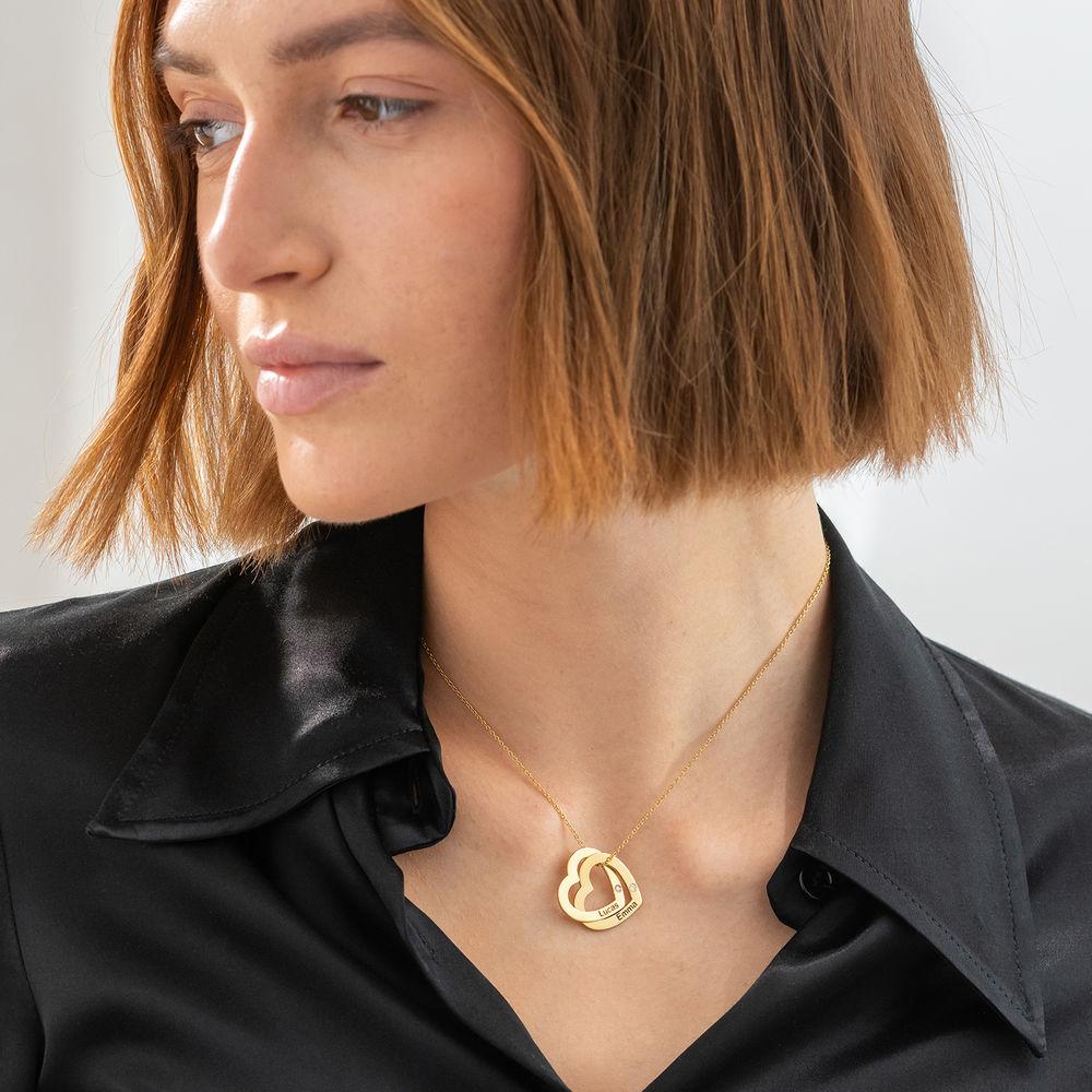 Diamant-Halsband med Sammanflätade Hjärtan i 18K Guldplätering - 1