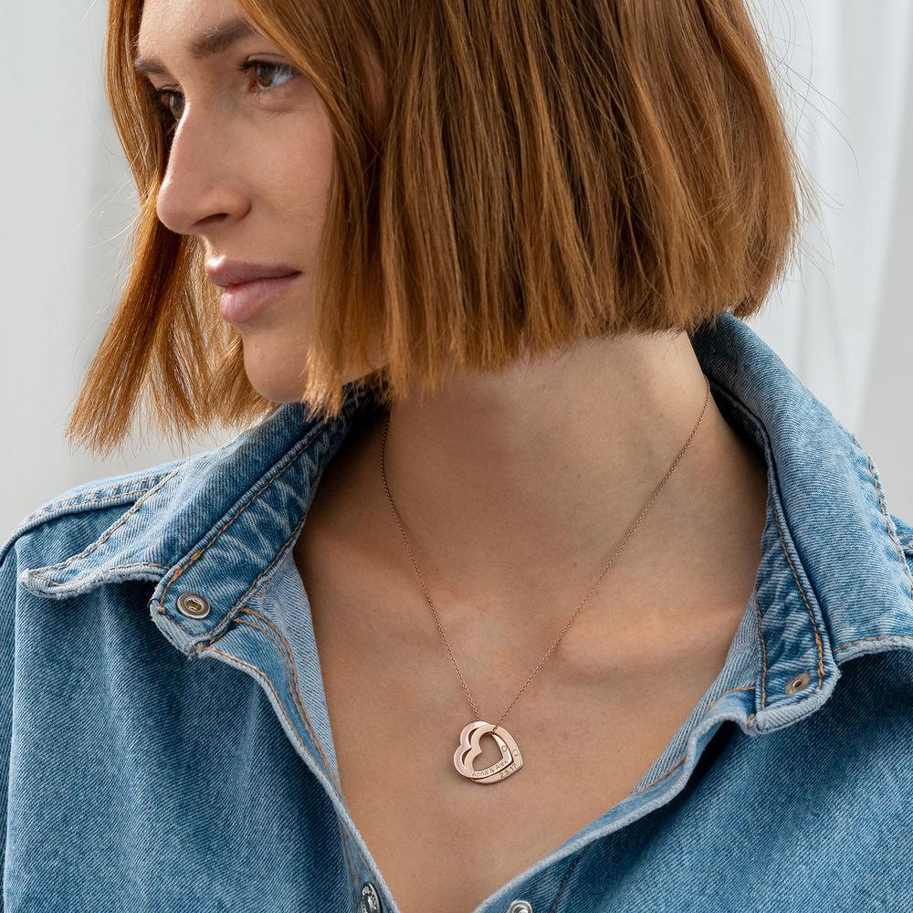 Diamant-Halsband med Sammanflätade Hjärtan i 18K Roseguldplätering - 1