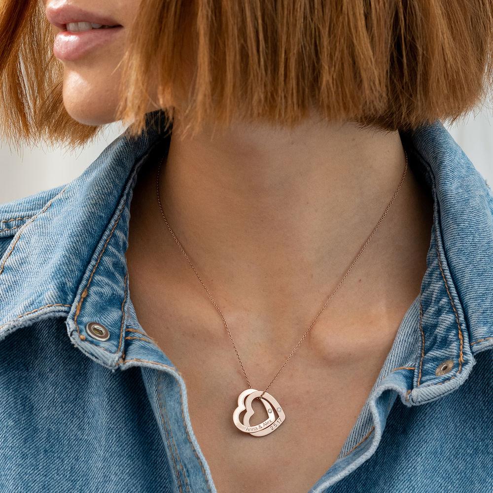 Diamant-Halsband med Sammanflätade Hjärtan i 18K Roseguldplätering - 2