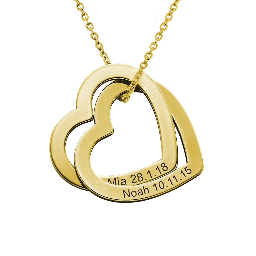 Halsband med sammanflätade hjärtan i Guld Vermeil