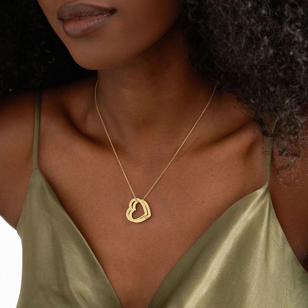 Halsband med sammanflätade hjärtan i Guld Vermeil - 2