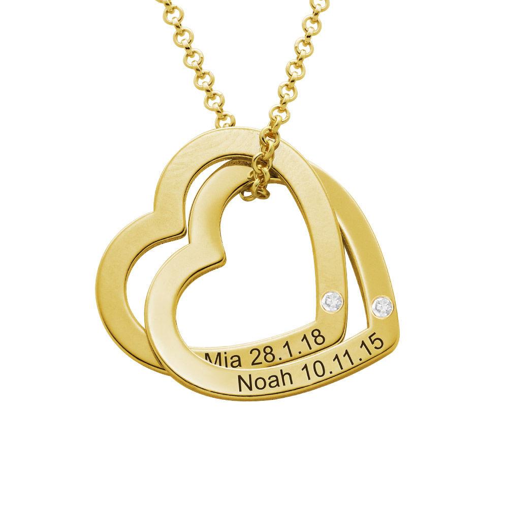 Diamant-Halsband med Sammanflätade Hjärtan iGuld Vermeil