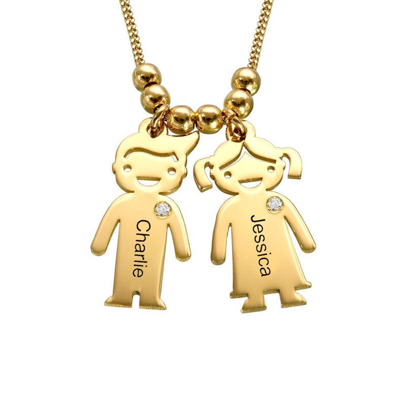 Mammasmycke med Barn-berlock i 18k Guldpläteringoch Diamant